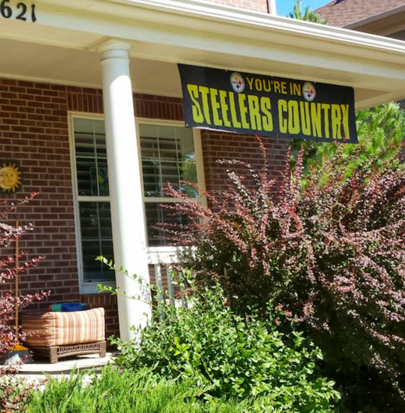 Signs that a Steeler fan lives in the Broncos' backyard.