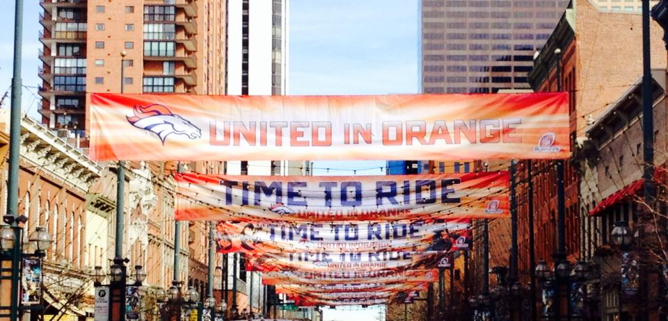 Banners of Broncos Support over Lamimer Square