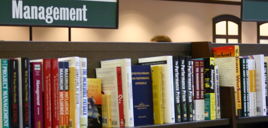 a picture of product management books on a bookstore shelf, taken from Morguefile.com