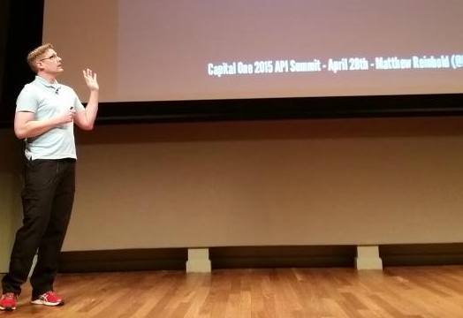 Picture of Matthew presenting at the 2015 Capital One API Summit.